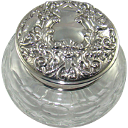 A Lovely Silver Topped Cut Glass Powder Bowl, 1983.