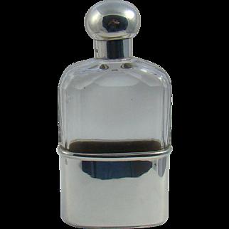 A Victorian Silver Mounted Cut Glass Hip Flask By Asprey, 1897.