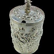 A Distinctive And Impressive Antique Silver Preserve Jar And Cover, 1917.