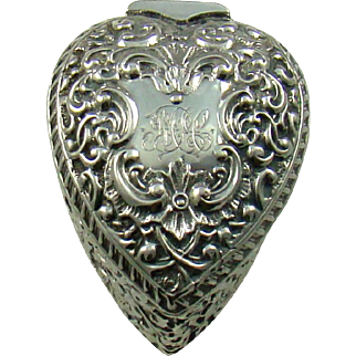 A Victorian, Silver And Gilt Lined, Heart Shaped Jewellery Box, 1898.