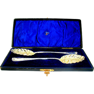 A Pair of Victorian Silver Serving Spoons, 1897.