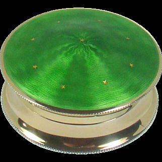 A Very Attractive Antique Silver Gilt Green Guilloche Enamelled Pill Box, 1910