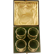 A Boxed Set Of Four Antique Silver Napkin Rings In the Art Nouveau Style, 1911.