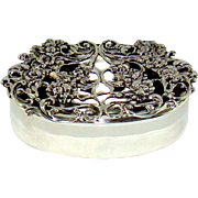 A Lovely Antique Silver Pill Box With A Cast Silver Floral Lid, 1912