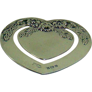 An Unusual Vintage Silver Heart Shaped Bookmark, 1990.