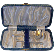 A George VI Child`s Silver Spoon And Pusher Set, 1945.