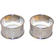 A Pair Of Vintage Silver napkin Rings, 1959.