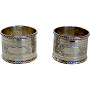 An Attractive Pair Of Antique Silver Napkin Rings, 1901.