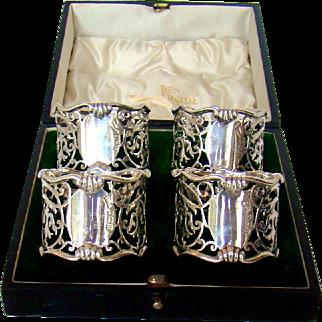 A Set Of Antique Silver Art Nouveau Napkin Rings, 1911.
