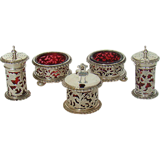 A Victorian Silver, Five piece Cruet Set, 1897.