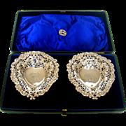 An Antique Pair Of Silver Heart Shaped Bon Bon Dishes, 1894.