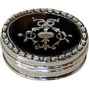 An Antique Silver And Tortoiseshell Pill Box, 1909.
