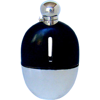 A Good Quality Antique Silver And Leather Covered Hip Flask, 1890.