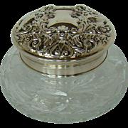 A Vintage Silver Topped, Cut Glass Powder Bowl, 1983