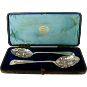 A Boxed Pair of Antique Silver preserve Spoons, 1882.