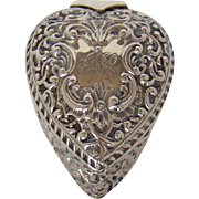 A Victorian Silver And Gilt Lined, Heart Shaped Jewellery Box, 1898.
