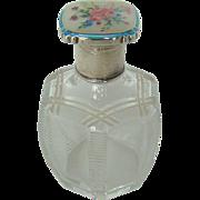 A Vintage Silver Enamelled Topped, Cut Glass Perfume Bottle, 1949.