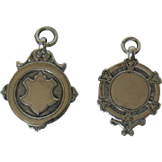 Two Vintage English Silver Fobs, 1936 & 1937.