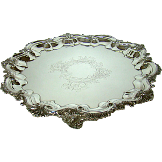 A Large Antique Silver Salver/Tray, 1902.