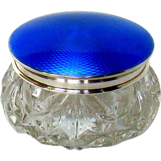 A Vintage Silver Guilloche Enamelled Top Glass Jar, 1931.