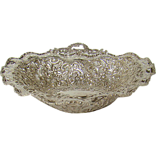 A Victorian Silver Heart Shaped Fruit Bowl, 1899.