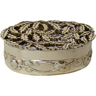 An Antique Silver, Holly Leaf Decorated Pill Box, 1909