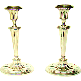 A Vintage Silver, Pair Of Adam Style Candlesticks, 1966.