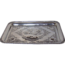 A Large Antique Sterling Silver Tray, 1906.