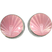 A Stunning Pair Of Silver Pink Guilloche Enamelled Dressing Table Jars, 1954