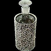 Antique Sterling Silver Framed, Perfume Bottle, 1901.