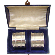 A Boxed Pair Of Vintage Silver Napkin Rings, 1948.