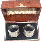 A Boxed Pair Of Antique Silver Napkin Rings, 1897.