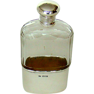An Antique Sterling Silver And Glass, Hip Flask, 1912.
