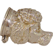 An Unusual Vintage Silver Snuff Or Pill Box In The Form Of A Poodle`s Head, 1973.