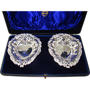 A pair of Victorian heart shaped silver bon bon dishes, 1894