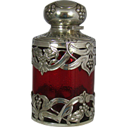 A very attractive Edwardian Antique Silver and Cranberry Glass Perfume Bottle, 1901.