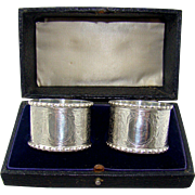 An Antique Pair Of George V Silver Napkin Rings, 1912.
