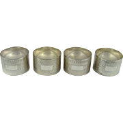 A Set Of Four Vintage Silver, Napkin Rings, 1948