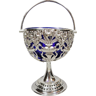1870's Victorian Silverplated Footed Sweet Basket with Handle