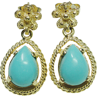Genuine Turquoise Drop Earrings, 14 Karat Yellow Gold