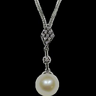 Akoya Pearl and Diamond Pendant