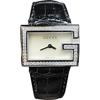 Lady's Genuine Gucci Stainless Steel and Diamond Watch