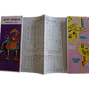 Air India February 1963 Flight Schedule and Price List fold out Brochure