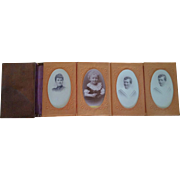C1900 Danish Leather Money Wallet with Photograph folder and Cabinet Photos