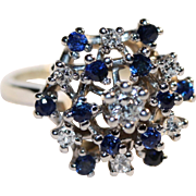 Beautiful Snowflake Design Sapphire and Diamond Ring set in 14K White Gold, Appraisal included