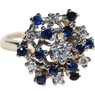 A great Retro 1950s Sapphire and Diamond Dinner Ring, set in 14K White Gold.  Appraisal included
