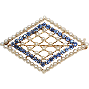 Vintage Victorian Seed Pearl and Sapphire Brooch set in beautiful mounting of basket weave 14k yellow gold