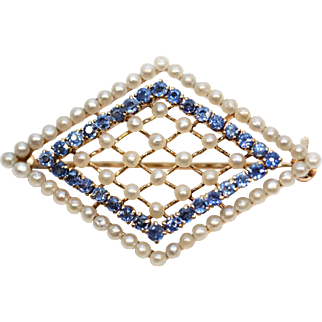 Antique Victorian Seed Pearl and Sapphire Brooch set in beautiful mounting of basket weave 14k yellow gold