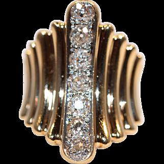 7 European Cut Diamonds in Custom made 14k gold Ring