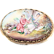 Hand Painted Porcelain Cameo Brooch in 14K Gold Filigree